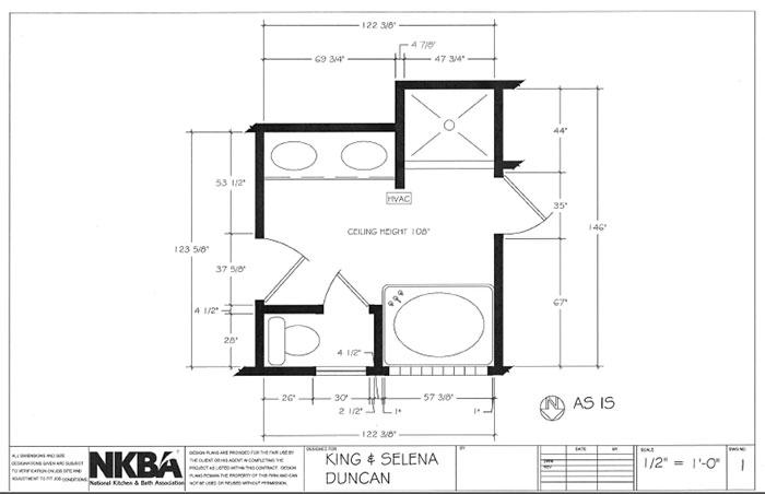 design bathroom floor plan. For her master bath design  Marks drew inspiration from the architectural details of landmark Veterans Bridge in Chattanooga Original floorplan The Best Universal Designs Kitchen Bath Business