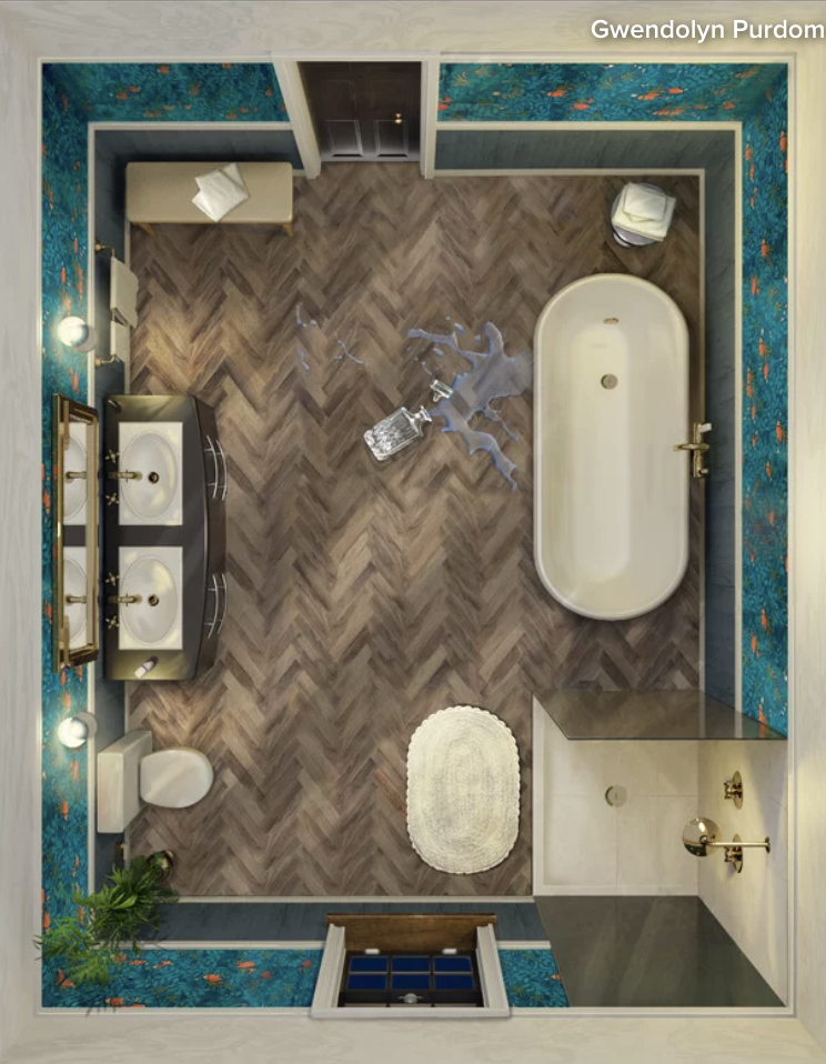 Houzz Voters Pick A Moody Bathroom To Update The Clue Board Game Kitchen Bath Business